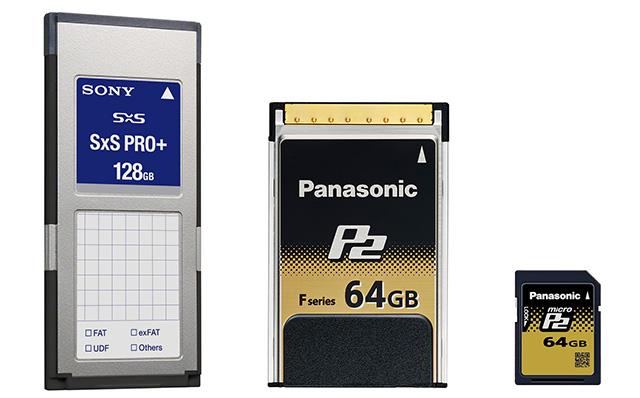 写真1 映像制作業務用に設計された各種メディアは、高い記録レートを確保するために、複数のフラッシュメモリを実装してストライピングで動作している。PCに直接データを転送するための専用ドライバー装置も開発されている