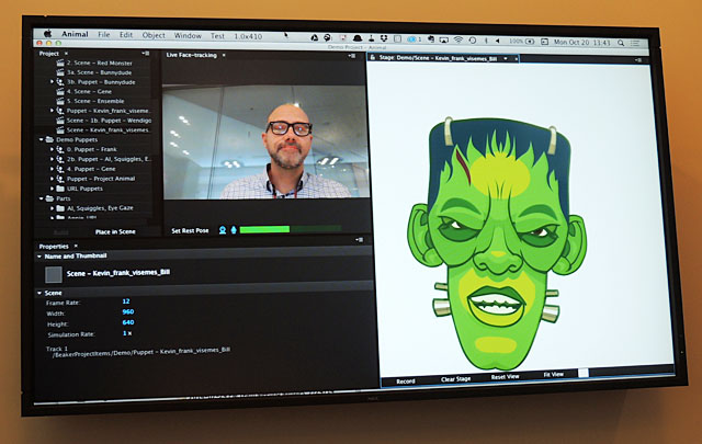 「Project Animal」のツールでは、カメラで顔をトラッキングして、話している口の動きを再現する