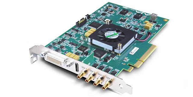 KONA4。AJAのKONA4は、I/FがPCIe2.0のビデオカード。SDからHD、2K、4Kのすべての解像度でフル10ビット4:2:2 / 4:4:4で処理、フレームレートは60pまでをサポートする。4Kインターフェースは、Quad 3G SDI(UHD4:4:4/60p、DCI4:2:2/60p)、HDMI2.0b(UHD4:2:0/60p)を備える。KONAシリーズには、4K画像に対応するKONA3Gカードもあるが、こちらはフレームレート25pまでだ