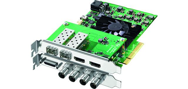 DeckLink 4K Extreme 12G。このBlackmagic Designのカードは、I/FがPCIe2.0のビデオカード。DCI 4Kを2系統、フレームレート60pをサポートする。4Kインターフェースは、1本の12G-SDIケーブルで、4K(YUV4:2:2/60p、 RGB 4:4:4/60p)、HDMIは1.4b(YUV4:2:0/30p)だ。同シリーズのDeckLink 4K Extremeは4Kのフレームレートは29.97fpsにまで対応する