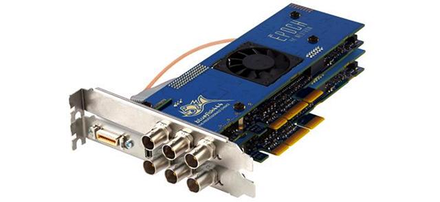 写真5 Epoch|4K Neutron Turbo。BlueFish444のEpoch|4K Neutron Turboは、I/FがPCIe2.0のビデオカード。12ビット、UHD/DCI 4K、フレームレート60pをサポートする。4Kインターフェースは、Quad SDI SDI(YUVA4:2:2:4/60p、RGBA4:4:4:4/60p)、HDMI 1.4aだ