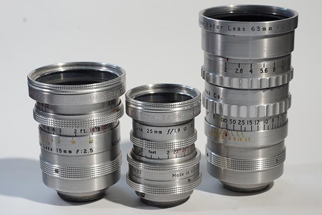 写真2 シネエクターシリーズ。左から15mm、25mm、63mm