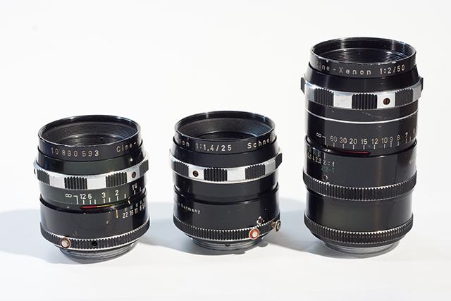写真3 シネクセノンシリーズ。左から16mm、25mm、50mm