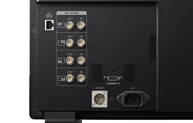 本体後部の入出力インターフェース部。DC24V電源にも対応。HDMI入力は4K60p表示に対応する