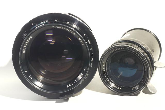 写真1 アンジェニューの50mm F0.95(左)と24mm F2.2(右)。大人と子供以上の差がある