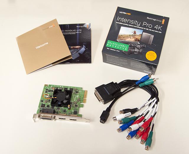 写真2 Intensity Pro 4Kパッケージ。カード本体と、ブレークアウトケーブル、ドライバー&アプリケーションソフトウェアが同梱。Davinci Resolve Liteがバンドルされている
