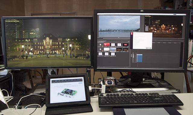 写真10 Adobe Premiere Pro CC(2014)を起動すると、シーケンスの映像が外部モニターに表示された。映像フォーマットは、UHD(3840×2160/29.97p)だ