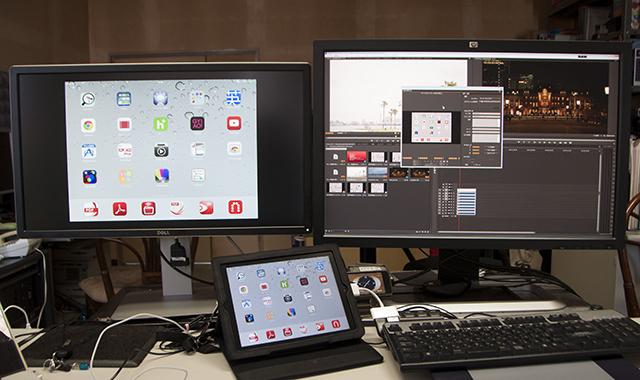 写真12 HDMI入力にiPadを接続し、Premiere Pro CCのキャプチャーツールを立ち上げると、iPadの画面をキャプチャーして外部出力することができた。iPadの撮影した写真/ビデオ、画面などは、こんな方法で取り込むのも方法のひとつだろう