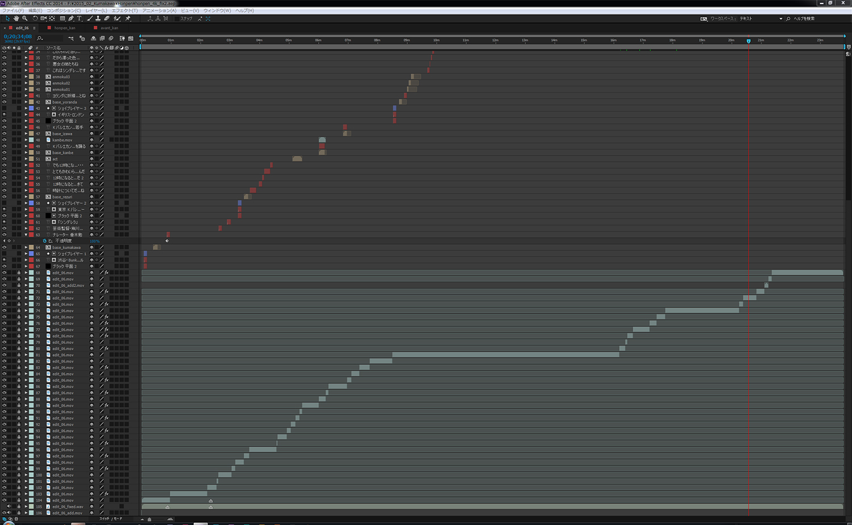 After EffectsのタイムラインでGoPro Cineformを細かくカットし、ロックする