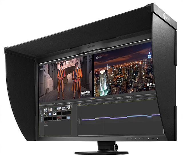 写真1 ColorEdge CG318-4K。¥54万(税込、EIZOダイレクト販売価格)と、マスターモニターとして大変魅力的な価格に設定されている。遮光フード(付属品)は取り外し可能