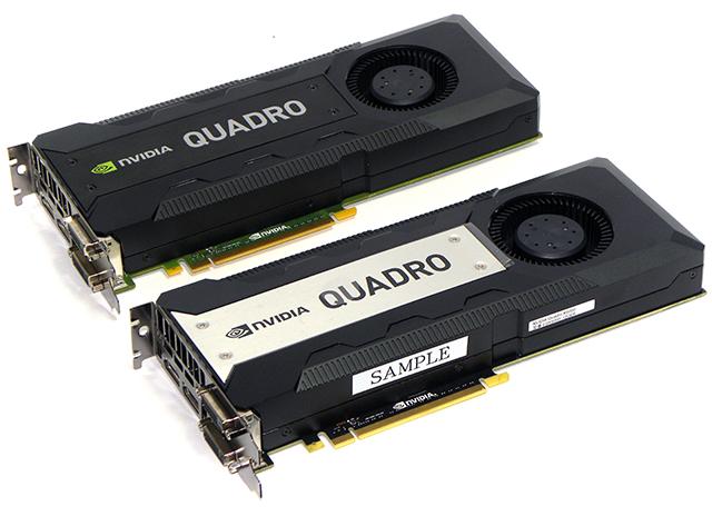 写真3 エルザジャパンより借用し、評価に使用したNVIDIA Quadro K6000(下)とK5200(上)。どちらのグラフィックスボードを使用してもDCI 4K/60p再生に対応する