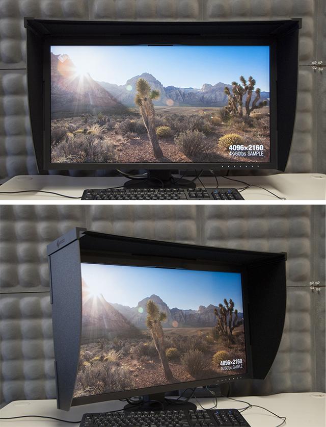写真5、6 4Kサンプル映像をフルスクリーン表示(映像提供:EIZO)。CG318-4Kは、広い視野角を確保するため、液晶パネルにIPS(In-Place Switching)パネルを採用している