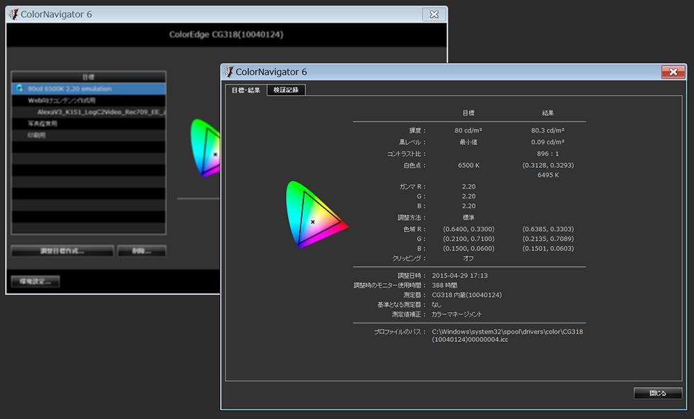写真18 モニターキャリブレーションソフトウェアColorNavigator6。このソフトウェアを使用すれば、新しいモニター表示プロファイルの作成や、他モニターの特性をエミュレーションが行える
