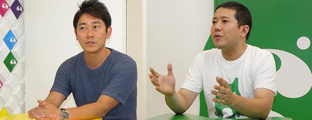 今回お話を伺ったアメスタの代表取締役でありスタジオ館長でもある谷口 逹彦 氏(左)と、最高放送技術責任者/スタジオ技術責任者である藤崎 智 氏(右)