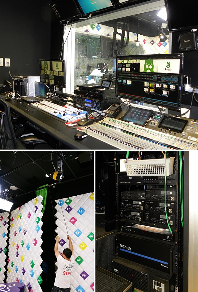 Aスタジオのサブには、バーチャルセットが可能となるTriCaster 8000を導入。Aスタジオの壁裏からはクロマキーカーテンを引き出せるようになっている