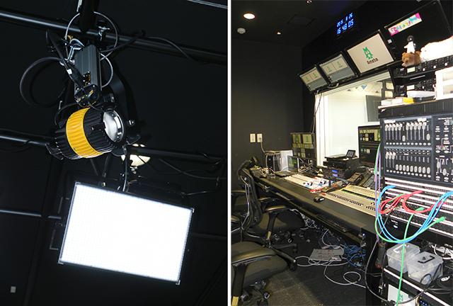 平面パネルのCamlight SL-H7500AとDEDOLIGHTのスポットライトDLED9.1-SE-D-DMX。スタジオサブに設置された24ch dimmer console(右写真ラック上段)など、DMXコントローラー類もケンコープロフェショナルイメージングからの導入(Aスタジオ)