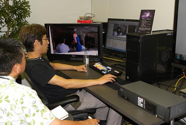 写真2 アビッドテクノロジーにて、同社アプリケーションスペシャリスト西岡氏から、DNxIOのレクチャーを受けた。当日のDNxIOは試作機の段階だった