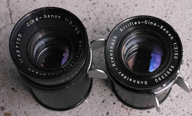 写真2 Cine-Xenon(左)とArriflex -Cine-Xenon(右)。共に50mm。表記に違いはあるが、どちらもクセノンであることに変わりはない