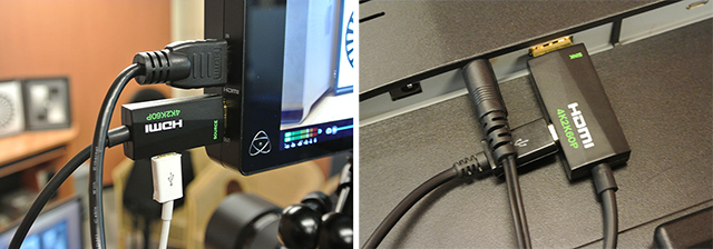 4K光延長ケーブル「HDCB-100M4K6G」のソース側(左写真)とシンク側(右写真)。マイクロUSB入力の電源が必要となる