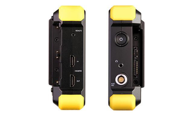SHOGUN FLAMEのサイドパネル。右サイド(写真左)にはHDMI入出力×各1とリモート端子、左サイド(写真右)には電源ボタン、ヘッドホン端子、XLRオーディオ入力を配置