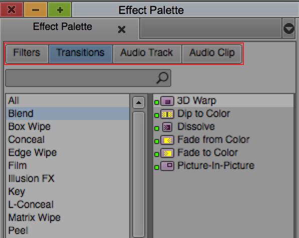 """図14 エフェクトパレットに、""""Filters""""、""""Transitions"""" など、エフェクトのカテゴリーボタンが追加された"""