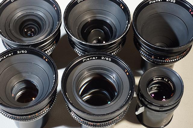 写真5 5本のアリバヨネットマウントレンズ。右下はスタンダードマウントの50mm