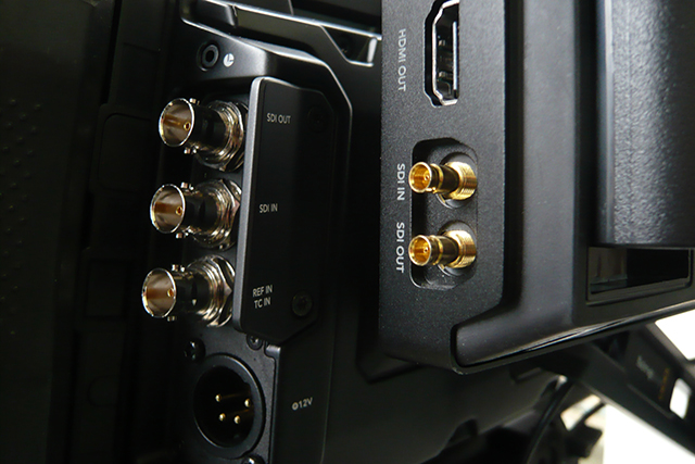 写真29 Video Assistで採用されているSDI DIN端子は通常のBNC端子よりも小柄。コネクターの装着感に問題はない。今後DIN端子を搭載した機材が増えていくのではないだろうか
