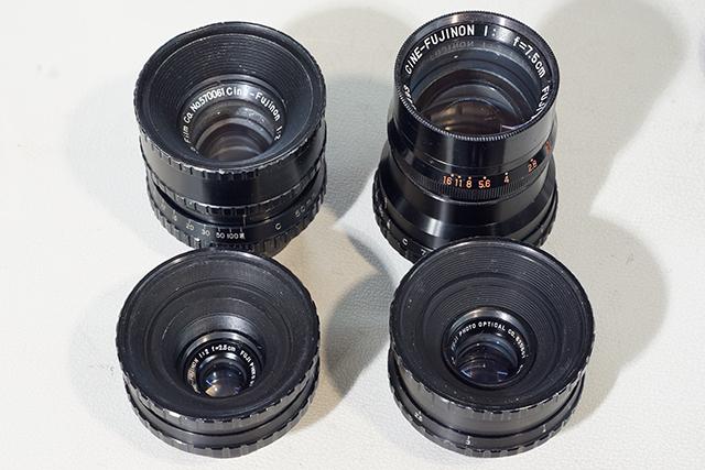 写真3 シネフジノノン4本。25mm(下左)、35mm(下右)、50mm(上左)、75mm(上右)