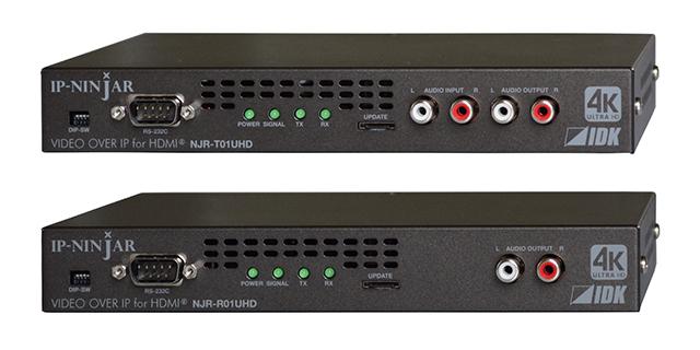 送信器NJR-T01UHD(上)と受信器NJR-R01UHD(下)。HDMI端子とLAN端子、SFP+モジュールはバックパネルに配置。送信器にはローカルモニター出力(HDMI)も装備されている