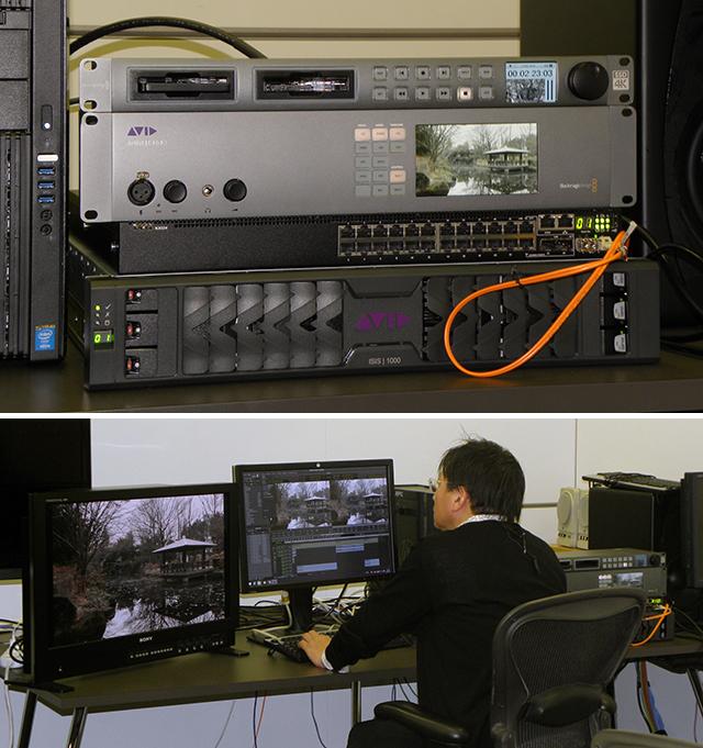 写真3、4 アビッドテクノロジーのデモルームにBlackmagic DesignのディスクレコーダーHyperDeck Studio Proを持ち込み、DNxIOによる4Kメディアのキャプチャーを試した