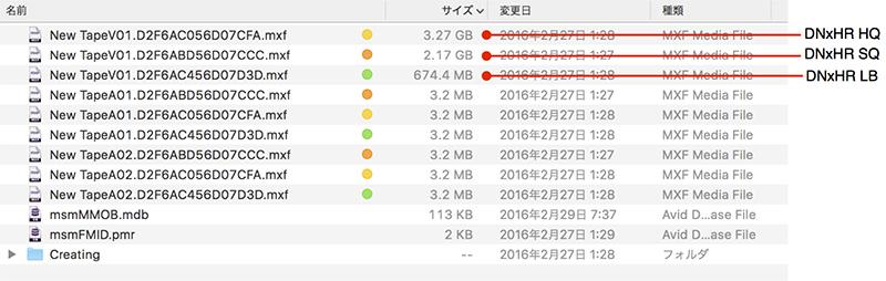 写真8 DNxHR LB、SQ、HQの各コーデックで、同一の4K素材を30秒間キャプチャーし、ファイルサイズを比較してみたところ、SQコーデックはLBの約3倍、HQコーデックはLBの約4.5倍のファイルサイズを消費することがわかった