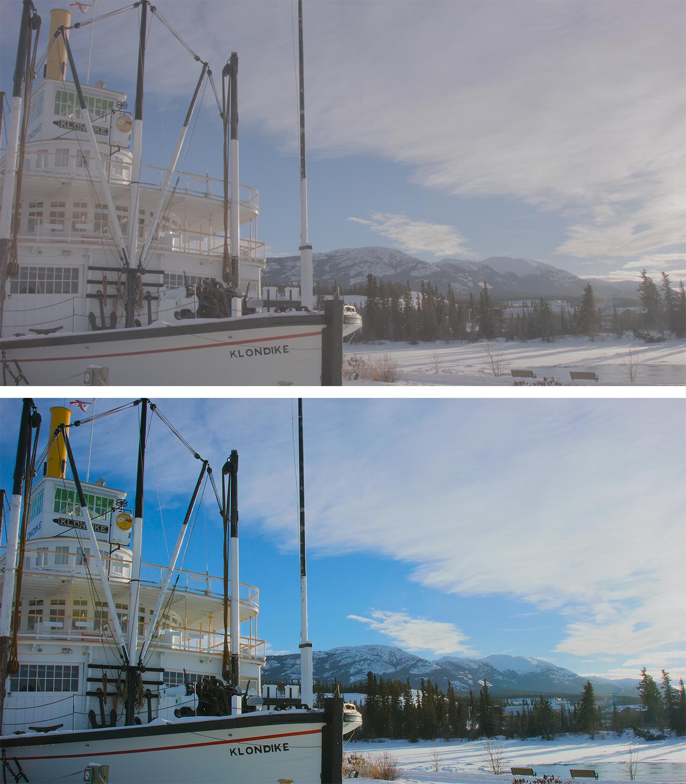 写真19 カラーグレーディング前(上)と後(下)の比較