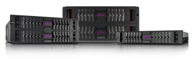 Avid NEXISシリーズ エンタープライズクラス。左から、NEXIS|E4(4Uサイズ)、NEXIS|E5(5Uサイズ)、NEXIS|E2(2Uサイズ)